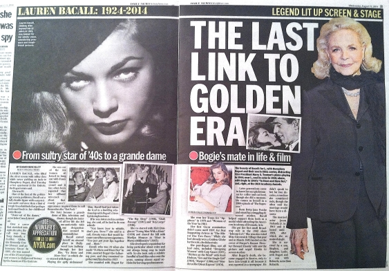LAUREN BACALL ( NY DAILY NEWS - I )