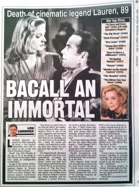 LAUREN BACALL ( NY POST )