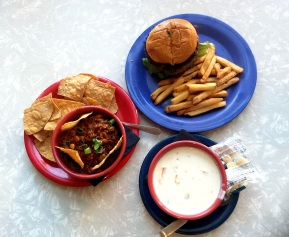 CHILI, BURGER & FRIES, NEW ENGLAND CLAM CHOWDER