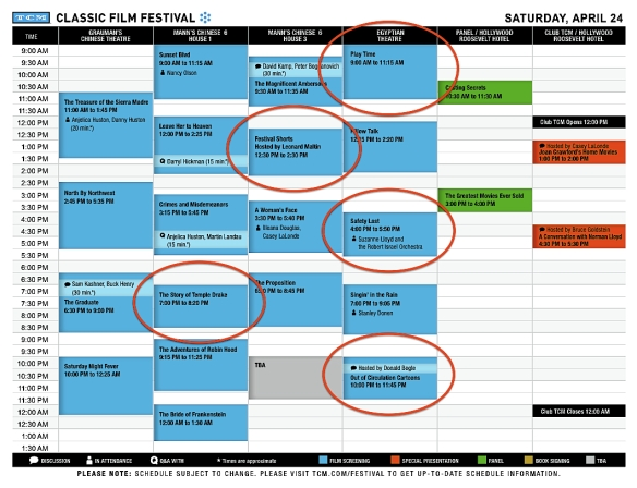 ( JEFF LUNDENBERGER ) TCM FILM FEST SCHEDULE